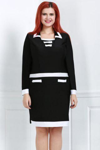 Fashion Stylish Turn-Down Collar Long Sleeve Color Block Plus Size Women's Dress