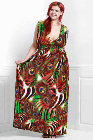 Discount Plunging Neck Peacock Sleeveless Wrap Dress COLORMIX XL