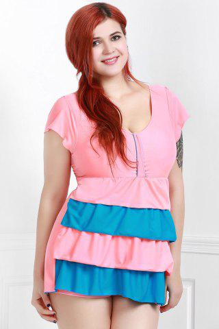 Sale Short Sleeves Color Block Flouced Skirted One-Piece Swimwear PINK 3XL