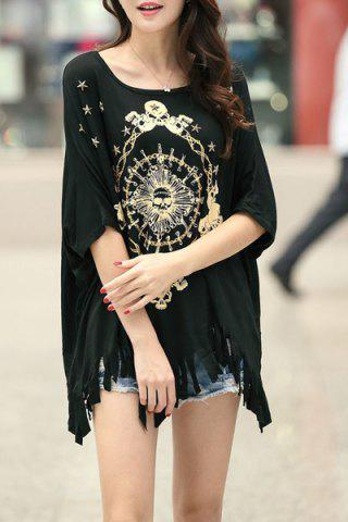 Chic Stylish Scoop Neck Half Sleeve Printed Fringed T-Shirt For Women