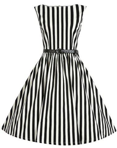 New Retro Style Boat Neck Sleeveless Striped Ball Gown Dress For Women