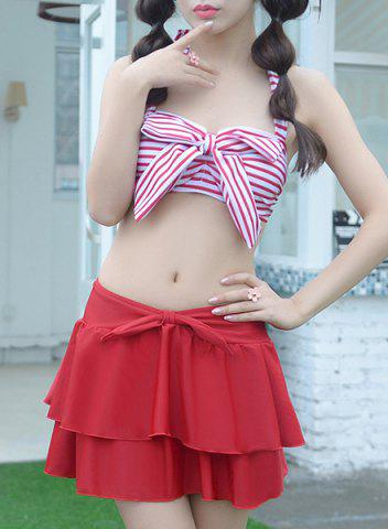 Unique Refreshing Halter Striped Bowknot Design Bra and Briefs and Skirt Three-Piece For Women