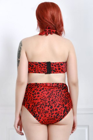Fancy Plus Size Leopard Cutout Strappy Halter Bikini Swimsuit - 2XL RED Mobile
