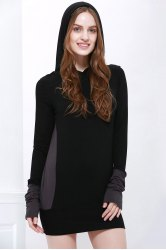 Stylish Hooded Long Sleeve Color Block Slimming Women's Hoodie - BLACK