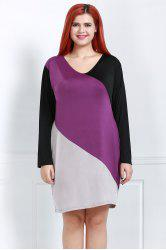 Stylish V-Neck Long Sleeve Color Block Plus Size Women's Dress