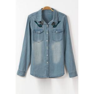 Stylish Flat Collar Long Sleeve Bird Embroidery Denim Shirt For Women