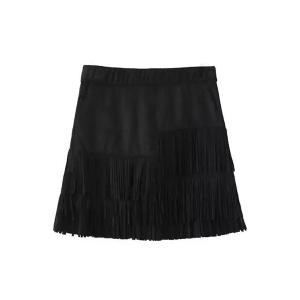Stylish Suede Tassels Spliced Black Skirt For Women