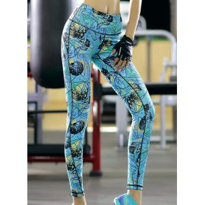 High Waisted Stretchy Printed Workout Ankle Pants -