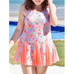 Sweet Scoop Neck Tiny Floral Print Swimsuit For Women -