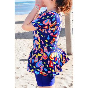 Sweet U-Neck Geometrical Print Short Sleeve Swimsuit For Women -