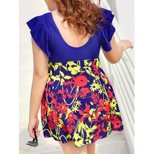 Cute V-Neck Floral Print Short Sleeve Swimsuit For Women -