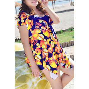 Chic Scoop Neck Apples Print Short Sleeve Swimsuit For Women -