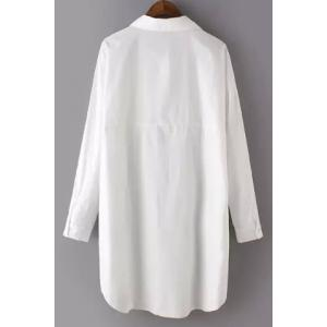 Brief Style Shirt Collar Long Sleeve White Plus Size Shirt For Women -