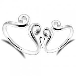 Paire de Graceful Solide Couleur Interdite Love Ring For Lovers - Argent Taille Unique
