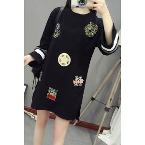 Casual Style Round Neck Long Sleeve Beading Letter Loose-Fitting Dress For Women -