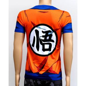Color Block 3D Dragonball Print Round Neck Short Sleeves Sweat Dry Tight T-Shirt For Men - COLORMIX 3XL