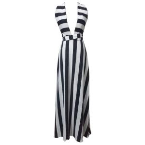 Striped Plunge Maxi Evening Prom Dress - White And Black - Xl
