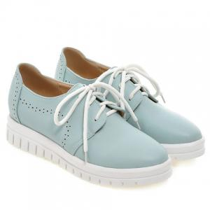 Casual Lace-Up and Solid Color Design Flat Shoes For Women - BLUE 38