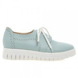 Casual Lace-Up and Solid Color Design Flat Shoes For Women -