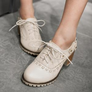 Fashionable Flower and Lace-Up Design Pumps For Women - OFF WHITE 37
