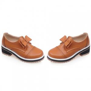 Trendy Bow and Engraving Design Pumps For Women - BROWN 39