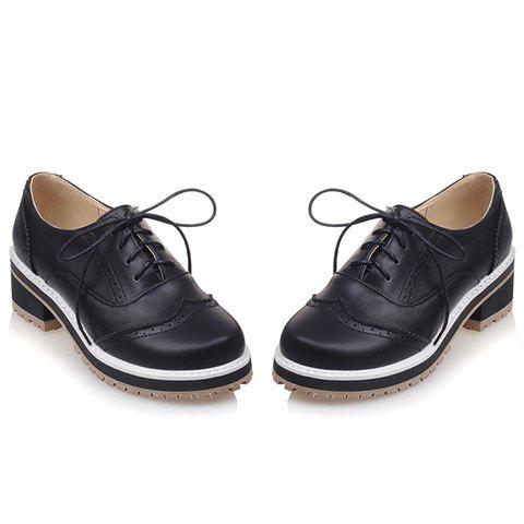 Affordable Preppy Lace-Up and Engraving Design Pumps For Women - 39 BLACK Mobile