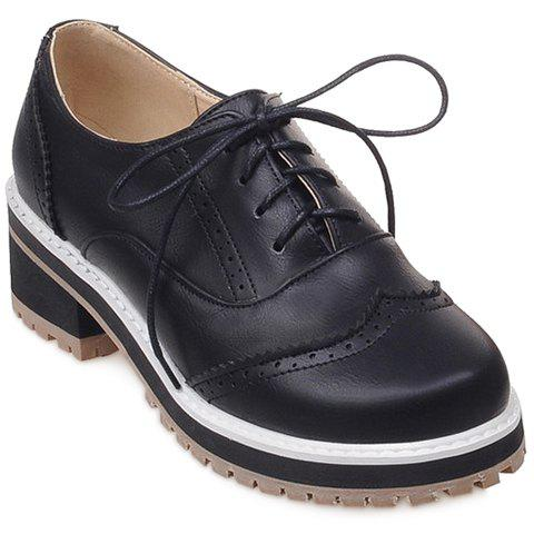 Sale Preppy Lace-Up and Engraving Design Pumps For Women - 39 BLACK Mobile