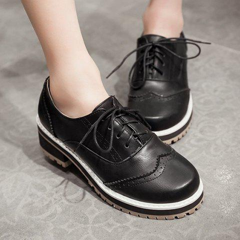 Online Preppy Lace-Up and Engraving Design Pumps For Women - 39 BLACK Mobile