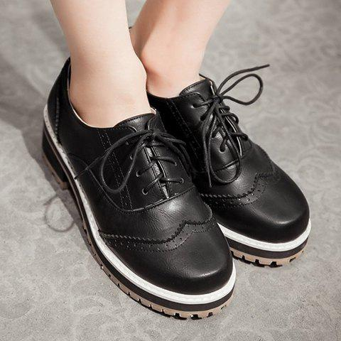 Latest Preppy Lace-Up and Engraving Design Pumps For Women - 39 BLACK Mobile