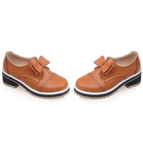 Trendy Trendy Bow and Engraving Design Pumps For Women - 39 BROWN Mobile