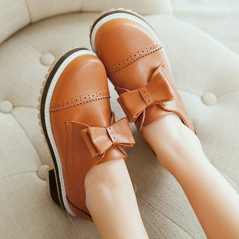 Outfits Trendy Bow and Engraving Design Pumps For Women - 39 BROWN Mobile