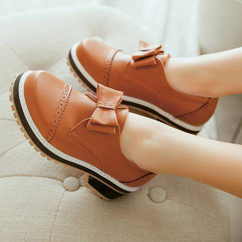 New Trendy Bow and Engraving Design Pumps For Women - 39 BROWN Mobile