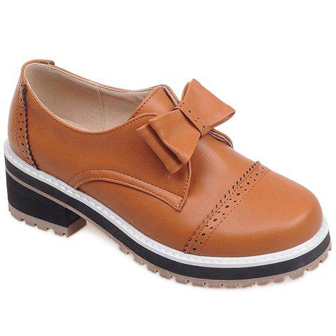 Cheap Trendy Bow and Engraving Design Pumps For Women BROWN 39