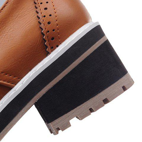 Affordable Trendy Bow and Engraving Design Pumps For Women - 39 BROWN Mobile