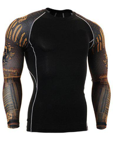 Shop Letters Skulls Pattern Round Neck Long Sleeves 3D Printed Sweat Dry Tight T-Shirt For Men