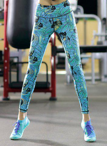 Discount High Waisted Stretchy Printed Workout Ankle Pants - XL WATER BLUE Mobile