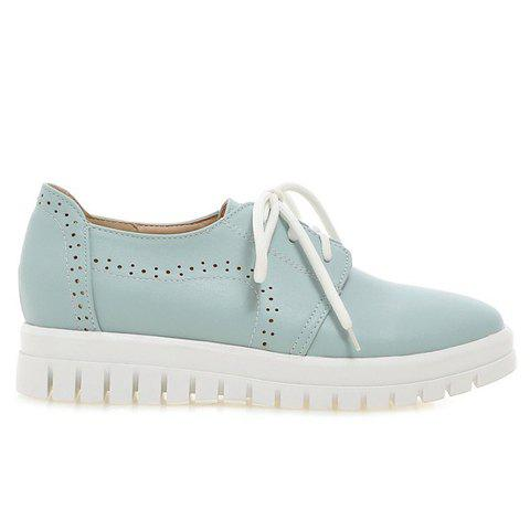 Affordable Casual Lace-Up and Solid Color Design Flat Shoes For Women - 38 BLUE Mobile