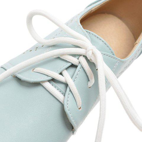 Outfit Casual Lace-Up and Solid Color Design Flat Shoes For Women - 38 BLUE Mobile