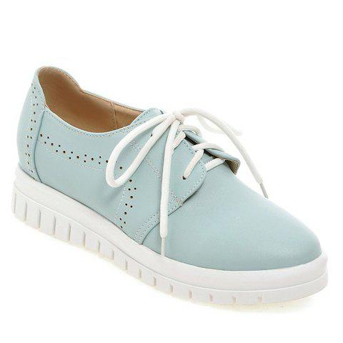 Cheap Casual Lace-Up and Solid Color Design Flat Shoes For Women BLUE 38