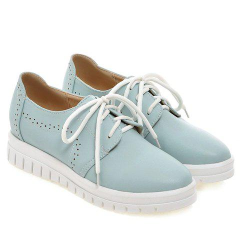 Latest Casual Lace-Up and Solid Color Design Flat Shoes For Women - 38 BLUE Mobile