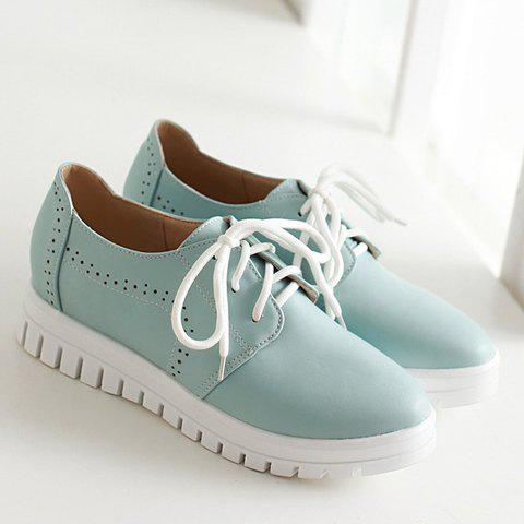 Chic Casual Lace-Up and Solid Color Design Flat Shoes For Women - 38 BLUE Mobile