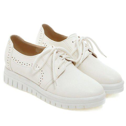 Online Casual Lace-Up and Solid Color Design Flat Shoes For Women - 38 WHITE Mobile