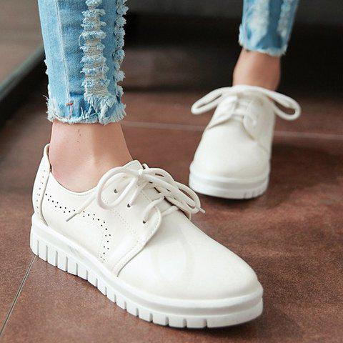 Best Casual Lace-Up and Solid Color Design Flat Shoes For Women - 38 WHITE Mobile