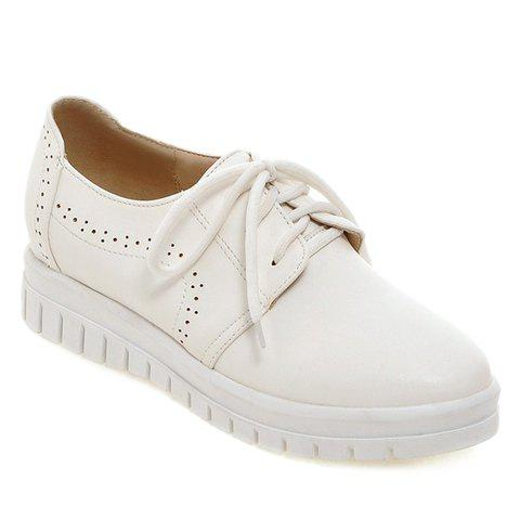 Unique Casual Lace-Up and Solid Color Design Flat Shoes For Women