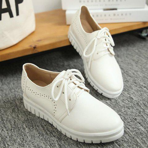 Sale Casual Lace-Up and Solid Color Design Flat Shoes For Women - 38 WHITE Mobile