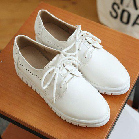 Shops Casual Lace-Up and Solid Color Design Flat Shoes For Women - 38 WHITE Mobile