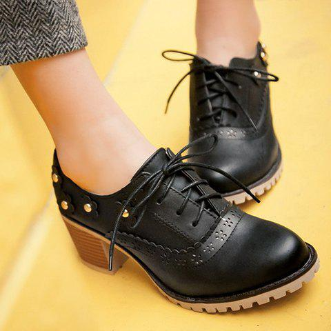 Latest Fashionable Flower and Lace-Up Design Pumps For Women - 39 BLACK Mobile