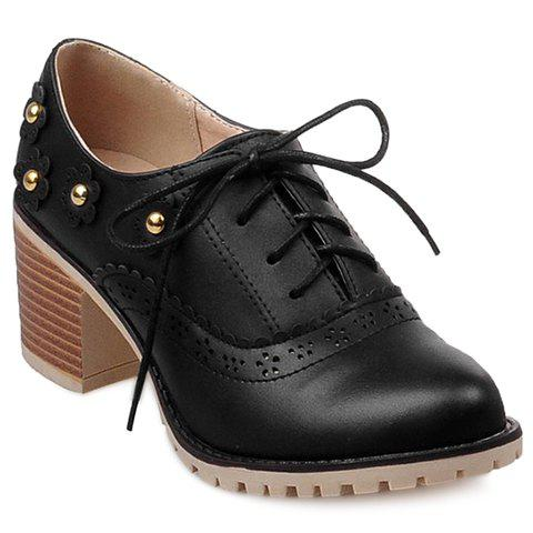 Online Fashionable Flower and Lace-Up Design Pumps For Women - 39 BLACK Mobile