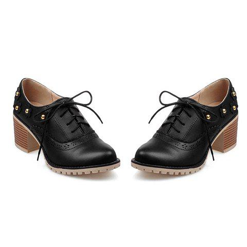 New Fashionable Flower and Lace-Up Design Pumps For Women - 39 BLACK Mobile