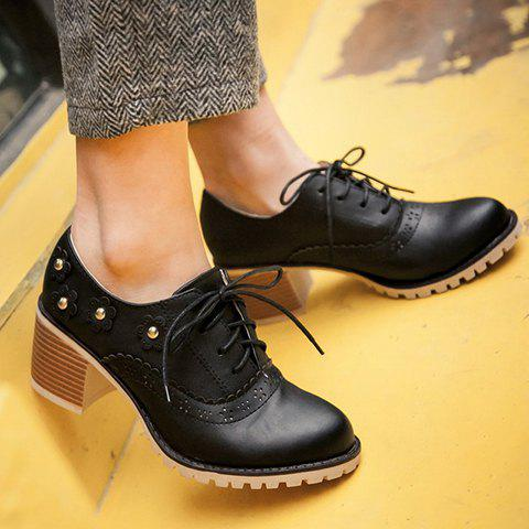 Affordable Fashionable Flower and Lace-Up Design Pumps For Women - 39 BLACK Mobile